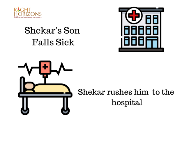 Shekar's son falls sick. Shekar rushes him to the hospital.